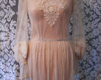 Stunning Antique Point D'Esprit Net Lace Victorian Wedding Dress Princess Lace Applique