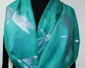 Dragonfly Silk Scarf Handpainted Green Teal Handmade Silk Shawl MYSTIC DRAGONFLIES in 3 SIZES. Anniversary Gift, Mother Gift, Valentine Gift
