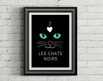 J'aime les chats noirs affiche 8 x 10, téléchargement instantané, téléchargement numerique, affiche chat noir, chat art, cadeau chat