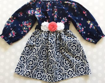Navy Floral and Lace Girl's Dress -  Spring Dress - Long Sleeve Dress - Baby Girl Dress - Girls Dresses - Spring Dresses - Baby Girl Dress