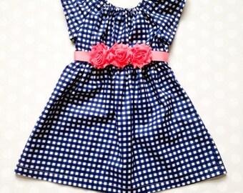 Navy Gingham Girl's Dress - Girls Dresses - Girls Dress - Girls  Spring Dress - Baby Girl Dresses - Navy and Pink - Gingham Dress - Handmade