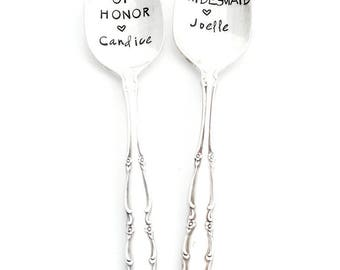 Gift for Maid of Honor, Bridesmaid and Wedding Party. Personalized Hand Stamped Teaspoons for Bridal Party.  The ORIGINAL by Sycamore Hill