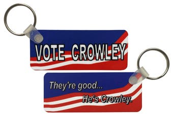Supernatural Double-Sided Keychain: Vote Crowley