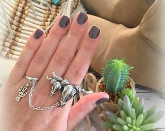 Two Silver plated adjustable Ring chain Bull skulls and Cactus dangling Charm Bohemian southwestern Gypsy style ring designed by Inali