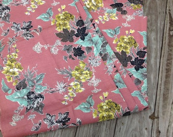 FLORAL Vintage BARKCLOTH FABRIC Tropical Upholstery Curtain 6 yards 1950s