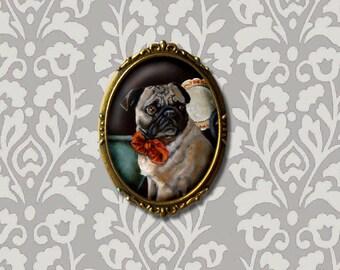 Pug Brooch, Pug Pin, Pug Portrait, Dog Brooch, Dog Portrait Brooch, Pet Portrait, Pug Lover Gift, Dog Lover Gift, Animal Brooch,