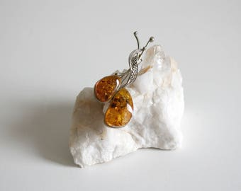 Baltic Amber Double Stone Brooch