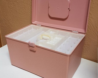 Plastic Sewing Basket Pink by Wilson, Wil-hold Box made in USA - Oak Hill Vintage