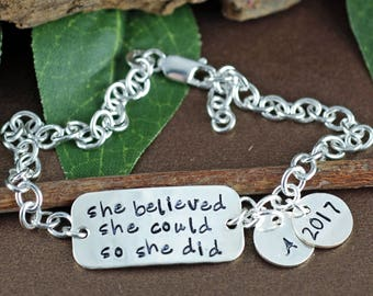 She believed she could so she did Bracelet, Graduation Jewelry, Gift for Graduate, Nursing Graduation Gift, Inspirational Gift, Gift for her