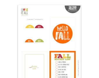 Hello Fall, Pocket Cards, Project Life, Fall Bucket List, Fall Journaling Cards, Digital Journal Cards, Adventure Awaits, Planner Supplies