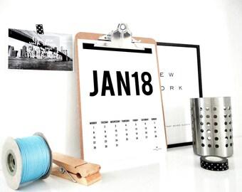Month and Year 2018 Monthly Printable Calendar, Monthly Calendar, Wall Calendar, Planner, Digital, Minimal Calendar, Gift for Him, PDF File