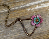 Geometric Triangle Formed & Layered Enameled Flower Necklace - Bronze Triangle and Torched Fire Pink and Teal Enamel Flower Necklace