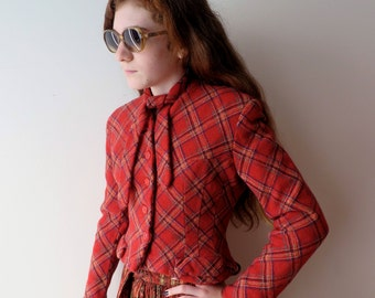 Vintage 1930's/Red Wool Plaid Jacket/Ruby Ross/30's Red Tartan Jacket/Bakelite Buttons/Size X Small