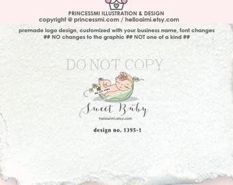 1395-1  sweet pea logo , newborn logo , baby Logo Design,  Pea newborn logo , newborn photography, photography, newborn business logo