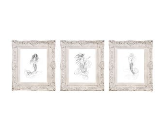 8x10 Set of 3 Mermaid PRINTS Mermaid's Wish, Nouveau Mermaid & Sea Kiss Mermaid Art Graphite Black White Pencil Drawings Beach House Decor