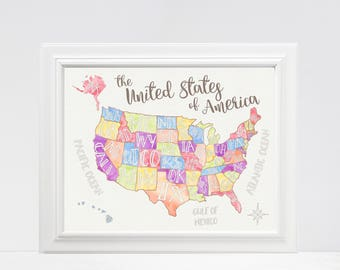 DIGITAL FILE US Map United States Of America Playroom - Us map state names