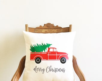 Christmas pillow cover, old red truck pillow cover, farmhouse Christmas pillow cover, Christmas gift, Christmas decor farmhouse Christmas