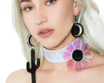 Cactus flower moon earrings