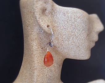 NEW! Copper Quartz Simple Drop Earrings Everyday Earrings On Oxidized Sterling Silver Gift For Her