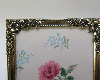 5 x 7  Antiqued Brass Picture Frame Easel Back Ornate Floral design