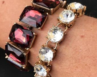 Garnet colored crystal stunning bracelet trendy fun statement jewelry bridesmaid gift wedding jewelry stocking stuffer dark red crystal