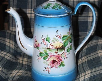 Enameled COFFEE Pot ROSES & Landscape pale Blue shades JAPY signed French