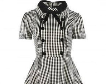 Black Plaid Gingham Double Breasted Swing Steampunk Dress