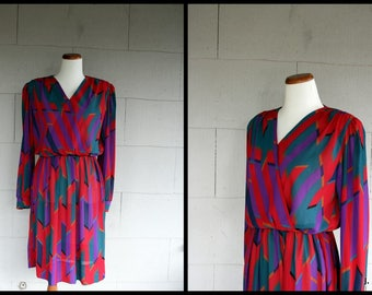 Vintage Dress / 80s Graphic Pattern Semi Sheer Dress / Small
