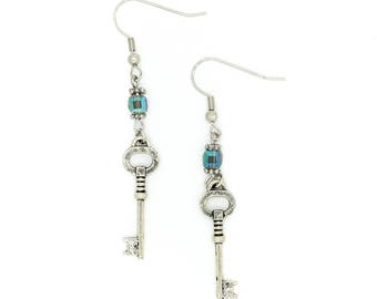 SALE Skeleton Key Earrings with Blue AB Crystal Square Beads