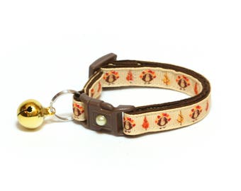 Thanksgiving Cat Collar - Thanksgiving Turkeys on Brown - Small Cat / Kitten Size or Large Size