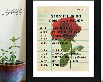 Grateful Dead, American Beauty Album, Songs, Library Card Art, Print
