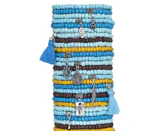 Stacked Bracelets Set of 30 Seed Bead Stretch Bracelets Bohemian Themed Stack with Charms and Tassels