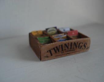 Dollshouse miniature box tea tisanes - One inch 1:12 scale -  Dollshouse kitchen - miniature box tea - Dolls kitchen