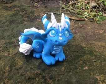 Polymer Clay Dragon Blue Sky Summer Clouds