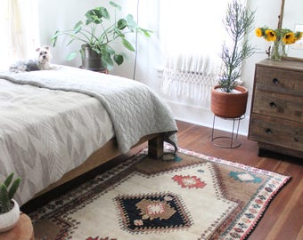 """SALE 8' 1"""" x 4' 4"""" vintage Gabbeh rug, rustic geometric faded Persian rug, happy bohemian earthy natural dyes area rug"""