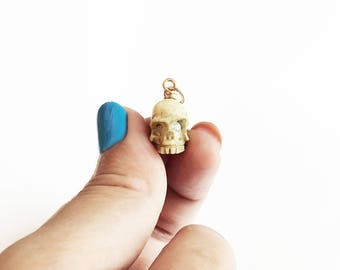 Antique Victorian 14 Karat Gold Skull Charm Pendant Memento Mori Carved Bone Paste Diamonds Vintage White Charm 14K