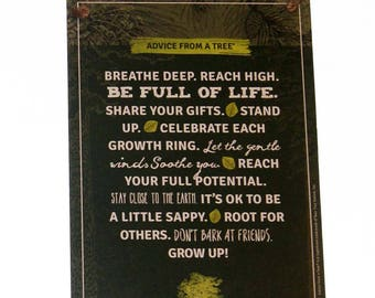 "Advice from a Tree Full of Life Inspirational 5.5""x8.5"" Wood Plaque Sign"