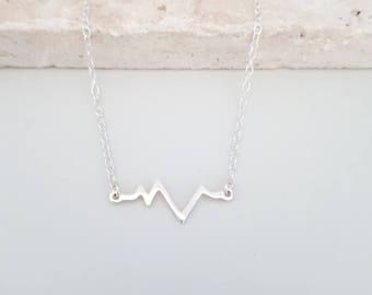 Sterling Silver Heartbeat Necklace, ECG Necklace, EKG Necklace, Medical Jewellery, Pulse Necklace, Heartbeat Pendant, Gift for Her