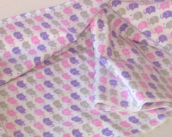 Swaddle Blanket, 36 x 40, Baby Girl Blanket, Baby Girl Item, Elephant Baby Blanket, Pink, Purple, Grey, Large Baby Blanket, Baby Girl Gift