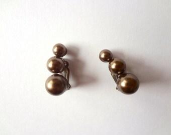 1960s Faux Pearl Earrings - mid-century vintage costume jewelry clip on bead earring