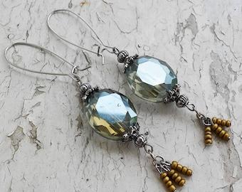 Green & Gold Crystal Dangle Earrings Jewery