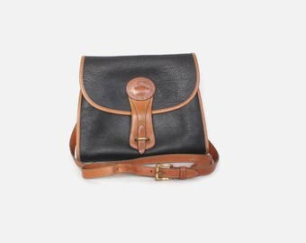 Vintage 90s D&B PURSE / 1990s Authentic Dooney and Bourke AWL 2-Tone Leather Medium Essex Crossbody