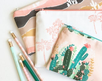 School Supplies, Palm Springs Zipper Pouch, Back to School Pencil Case, Pencil Pouch College Kids Gift for Women Blush Desert Organizer Bags