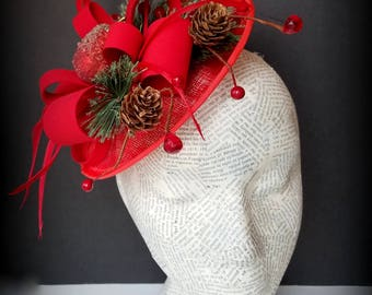 Red Christmas Fascinator, With Holly and Pine Accents: Whimsy, Church Hat