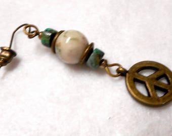 Men's Earring, Single Earring, Man's Earring, Peace Earring, Stone Earring, Dangle Earring, Rocker Earring, Man's Jewelry, Gift for Man