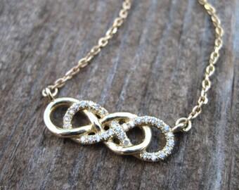 Diamond infinity knot necklace, double infinity knot diamond necklace, infinity diamond necklace, gold infinity pendant, diamond love knot