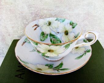 Tea Cup And Saucer Set Tuscan Dogwood English Bone China Green And Yellow Floral