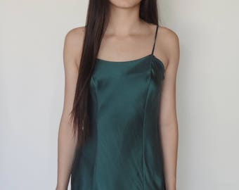 Deep Green Pure Silk Slip Dress