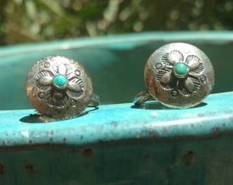 Bell sterling Earrings Turquoise, earrings, Turquoise Jewelry, Navajo jewelry, southwestern jewelry, Sterling jewelry, screw back Earrings