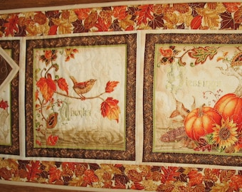 Fall Table Runner, Thanksgiving, handmade, quilted, fall leaves, pumpkins, birds, horn a plenty, Wall hanging